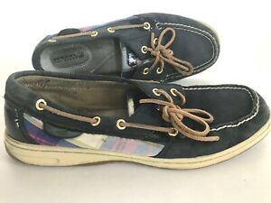 Sperry-Top-Sider-Navy-Leather-Multi-Color-Boat-Comfort-Shoes-Women-039-s-9