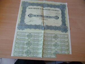 (y4) Titre Ancien Action 100 Union Miniere Et Financiere Coloniale 1929 Hclwjzvk-07223424-290354230