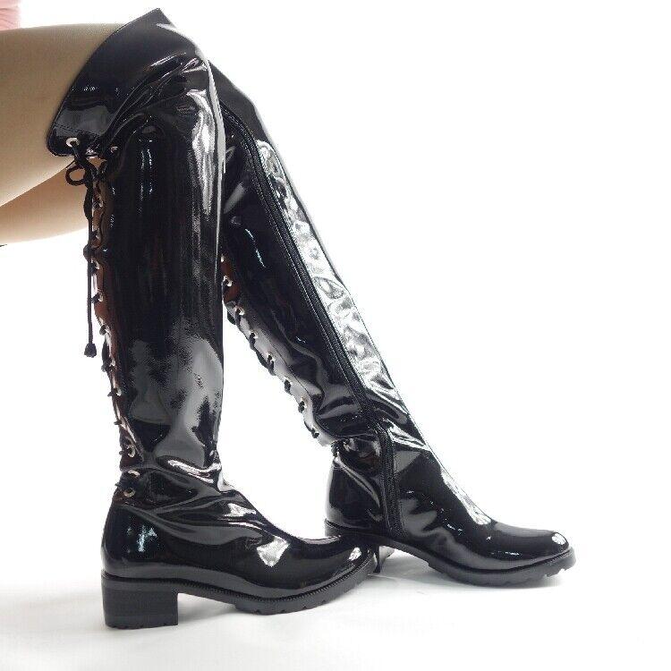 Schwarz Herren Lackleder  Performance Show Schuhe Militärstiefel Overkneestiefel