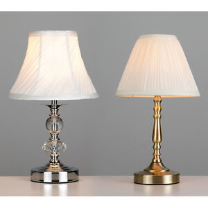 Chrome antique brass glass jewel touch dimmer table lamp bedside lights new ebay - Bedside lamps with dimmer ...