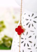Bracelet Et Bracelet De Cheville Fin Trèfle Lucky Rouge Soirée Mariage Ct2