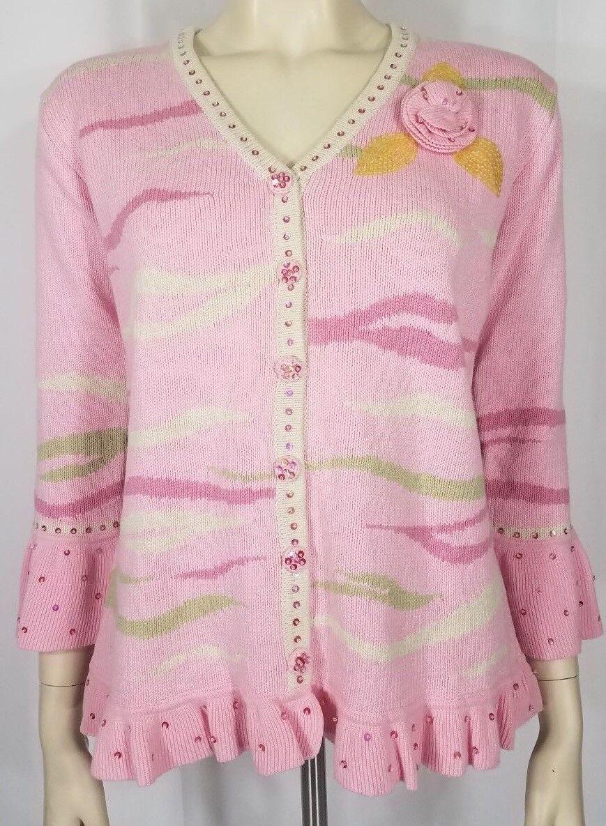 Storybook Knits pink white zebra print sequined cardigan sweater ladies XS