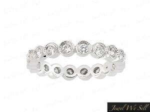 1-10Ct-Round-Diamond-Milgrain-Eternity-Wedding-Band-Ring-10k-White-Gold-I1-Bezel