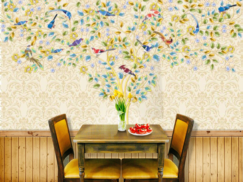 3D Zweige Vögel Zeichnen 67 Tapete Tapeten Mauer Foto Familie Tapete Wandgemälde