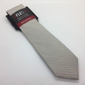 VAN-HEUSEN-Gray-Taupe-Striped-SILK-BLEND-57-034-Dress-Neck-Tie-FLEX-Men-NEW-45