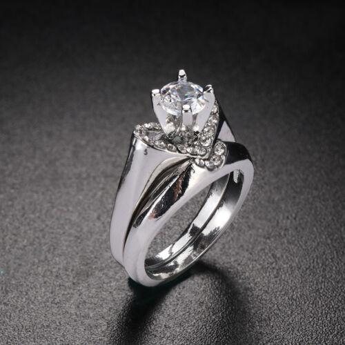 mariage de bijoux engagement sterling silver zircon coeur bague ring set