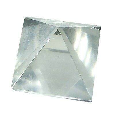 Tetrahedron Made of Gemstone Rock Crystal Geometric Figurine