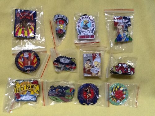 12 ASSORTED GRATEFUL DEAD SONG TITLE JERRY GARCIA RELIX PINS - GREAT GIFT !