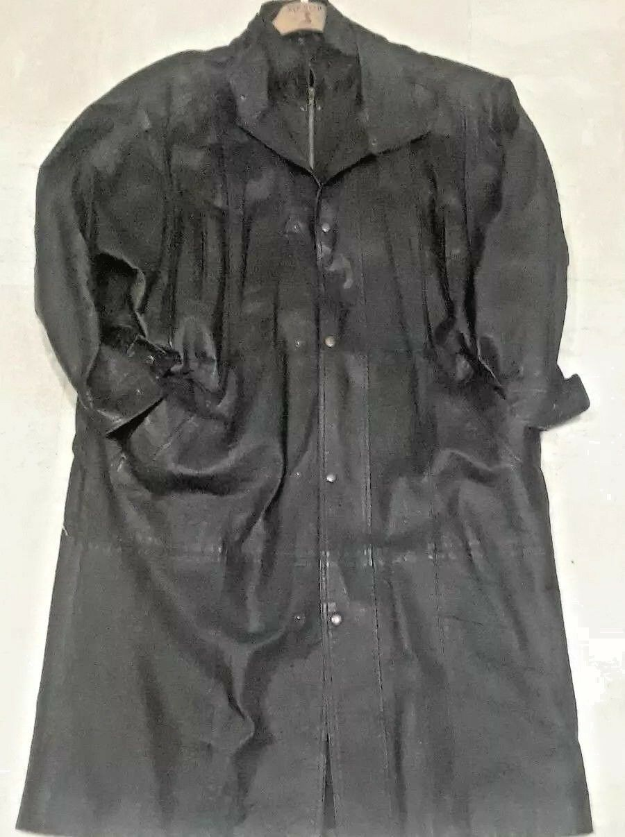 SAXONY Knee Length Mens Leather Coat Large ships out FAST
