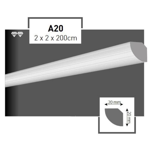 48 Meter Styroporleisten Zierprofile Stuckprofile Stuckleiste Dekor 20x20mm A20