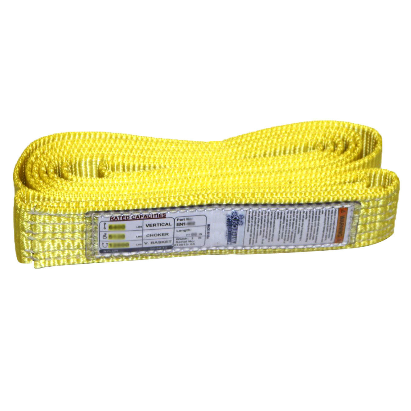 "2/"" x 8/' Endless Web Lifting Sling Nylon 2 Ply Tow Strap Yellow USA EN2-902"