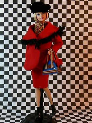 Winter in Montreal BARBIE Ensemble ONLY Red JACKET SKIRT Boots PURSE Beret