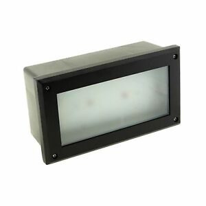 BLACK LED BRICK LIGHT LAMP RECESSED WALL SUPER BRIGHT OUTDOOR GARDEN PATIO 6W