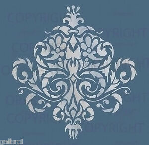 Large Wall Damask Stencil Pattern Faux Mural Decor 1010