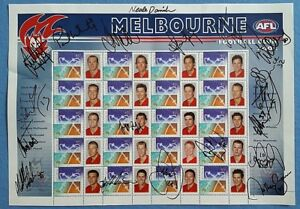 MELBOURNE-FOOTBALL-CLUB-2002-POSTAGE-STAMPS-Signed-Daniher-Woewodin