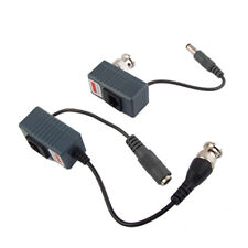 2 x CCTV Camera UTP BNC Male to RJ45 5.5x2.1MM Power Video Balun Transceiver