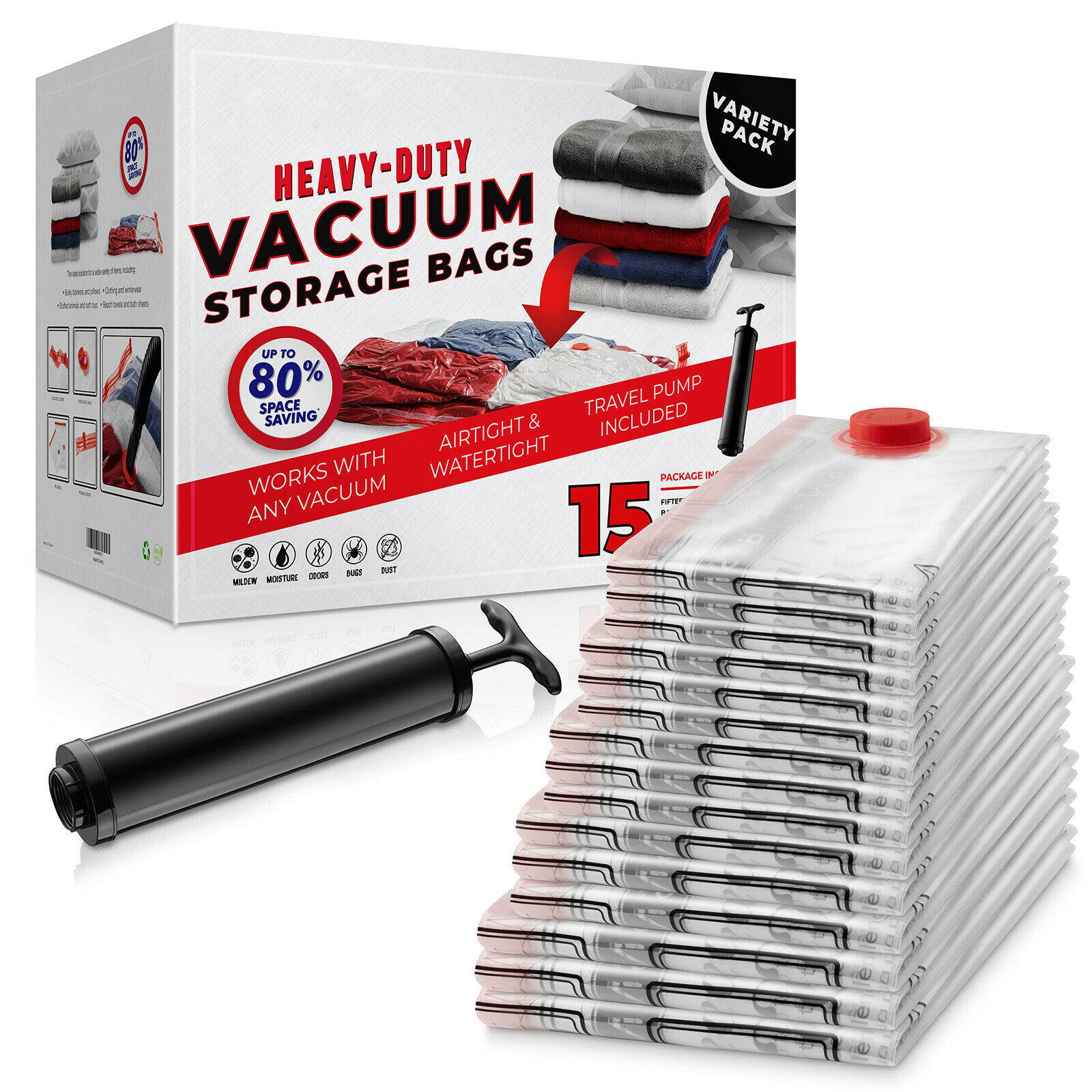 15 Pack Vacuum area Storage Saver Bags and Travel Hand Pump to Organi... - s l1600