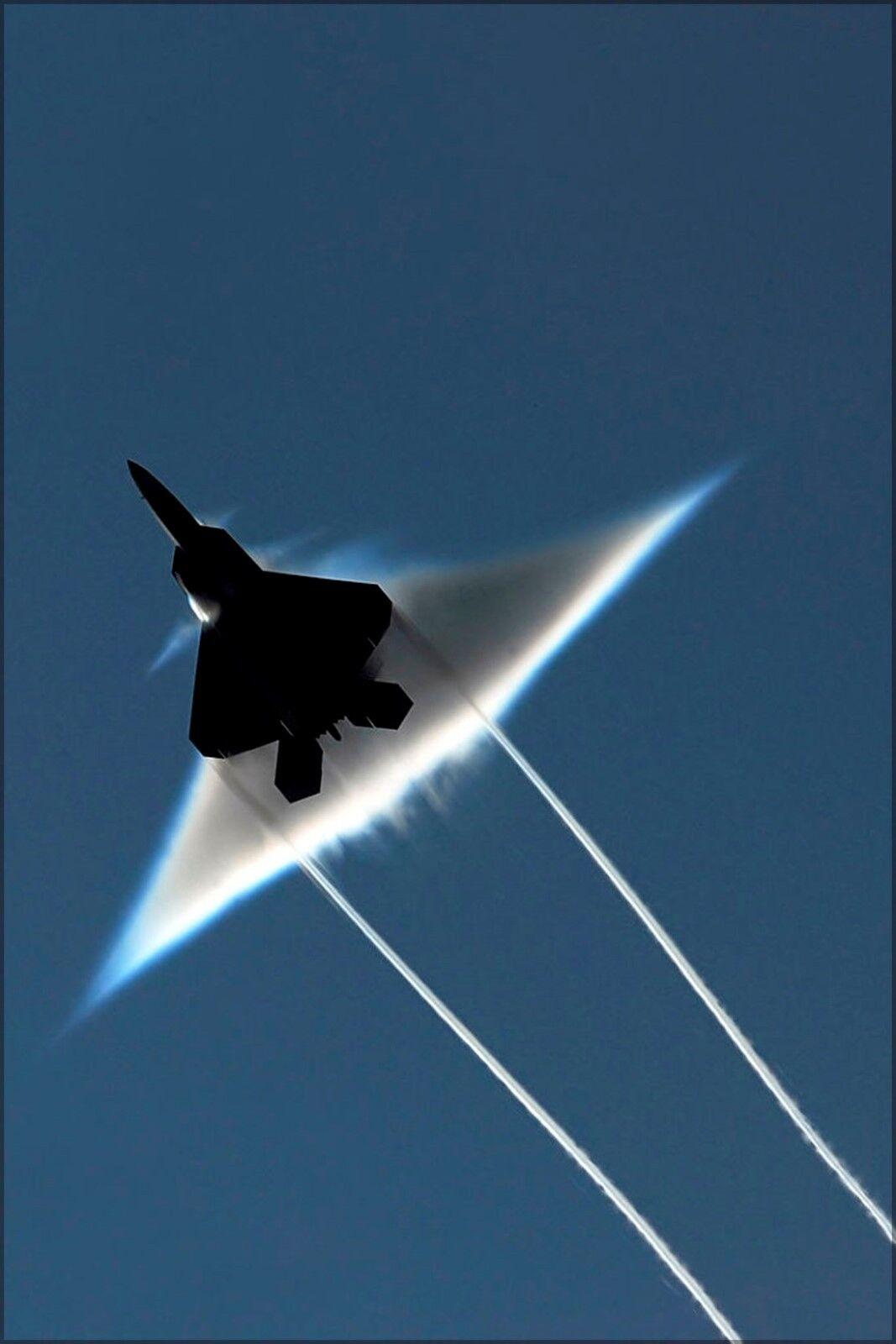 Poster, Many Größes; F-22 Raptor In Transonic Flyby Over Uss John C. Stennis (Cvn