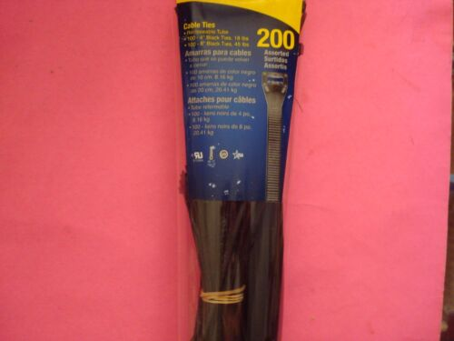 200 qty 8 INCH 45 LBS 4 INCH 18 LBS GB BLACK NYLON ZIP CABLE TIES WIRE HOSE