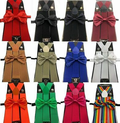 Men/'s clip-on suspenders x back and Bow Tie Retro Steampunk Costume Tux Prom