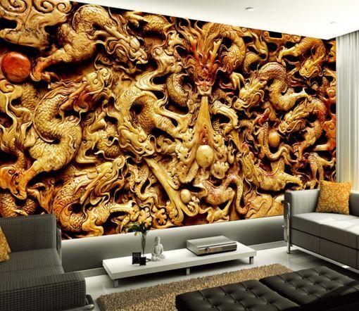 3D Drachen schnitzen 45  Fototapeten Wandbild Fototapete BildTapete Familie