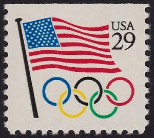 USA-1991-29c-Booklet-Flag-and-Olympics-Rings-MNH-E1289