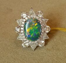 Black Opal Ring with Trillions/Round Diamonds in Plat TW 5.94 ct - HM1629