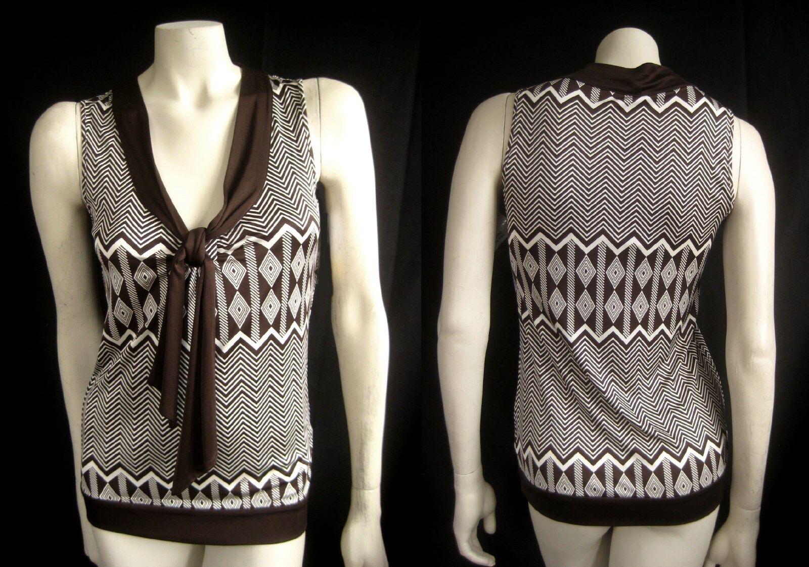 TORY BURCH 295 Olivera Shell Tribal Chevron Silk TOP Shirt