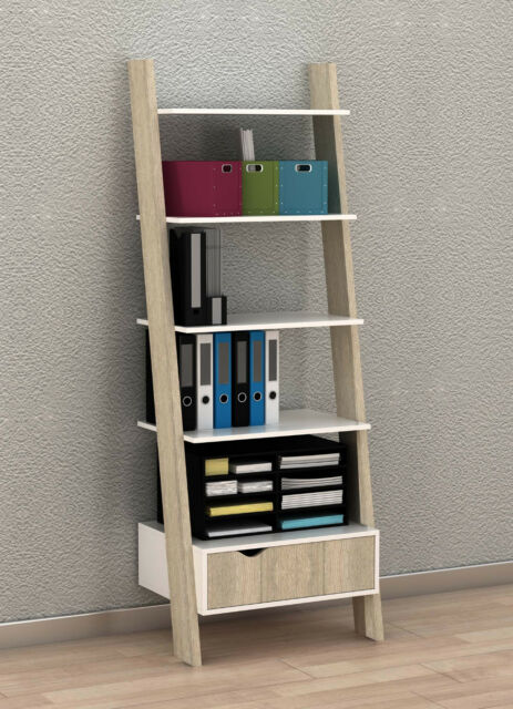 SoBuy Ladder Storage Wall Shelving Unit With 4 Shelves and Drawer ...