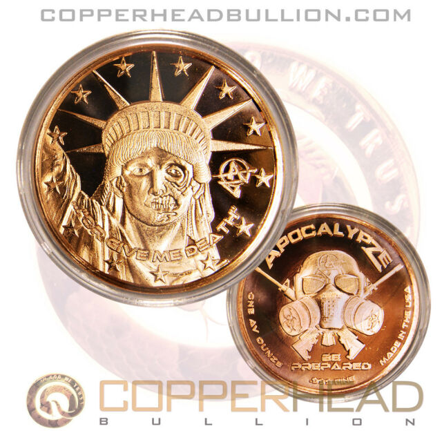 1 x 1oz Statue of Liberty or Death Copper Coin Apocalypse Zombie Currency Round