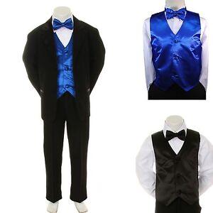 ee5da6488801 New Baby Boy Formal Wedding Party Black Suit Tuxedo + R Blue Vest ...