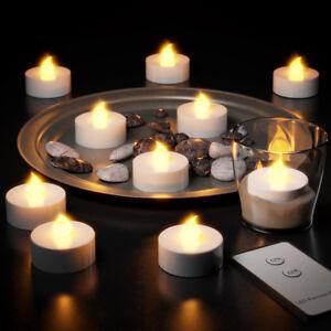Deuba 10x Led Teelichter Mit Fernbedienung Batterien Flackernd