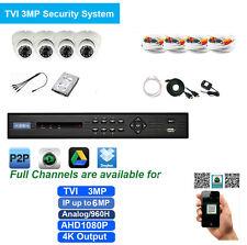 HD-TVI Tribrid 8Ch 6MP 4 IN 1 DVR + 4 X 3MP Sony CMOS Cameras 4K Output 1TB HDD