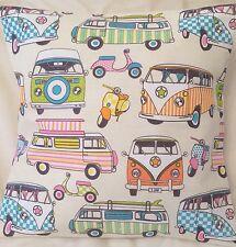 Camper van VW Print  Handmade Cushion Cover/Pillow Case Tutti Frutti 18 x18 inch