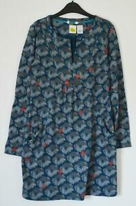 NEW-EX-WHITE-STUFF-FOREST-FERN-UK-8-10-TEAL-GREY-FLORAL-PRINT-TUNIC-TOP