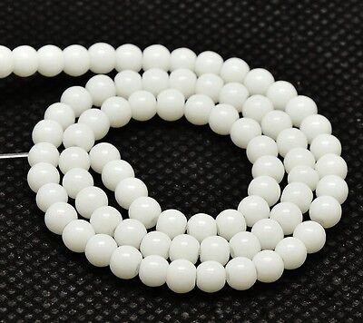 Weiße Jade Perlen 6mm KUGELN 60stk HALBEDELSTEIN Schmuck Mode Design G332