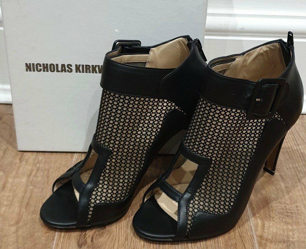 NICHOLAS KIRKWOOD Black Leather Mesh Cage shoes Boots - Worn Once  EU36 UK3