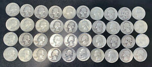 SILVER-Washington-QUARTERS-Lot-of-40-roll-Coins