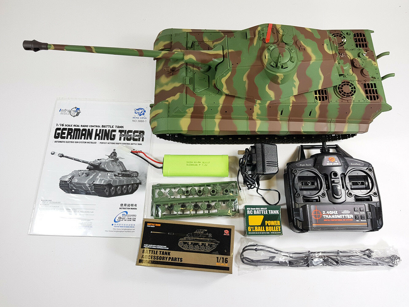 RC Tank longues HENG King Tiger 2.4 G G G Radio TélécomFemmede RC militaire armée BB Tank be9db8
