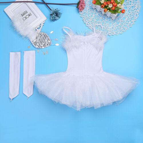 Kids Girls Ballet Dance Leotard Dress Ballerina Tutu Party Dancing Swan Costume