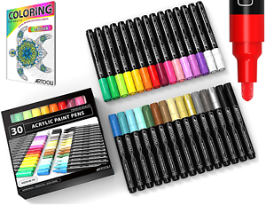 Acrylic Paint Pens 30 Assorted Markers Set 3.0mm Medium TIP for Rock DIY Glass