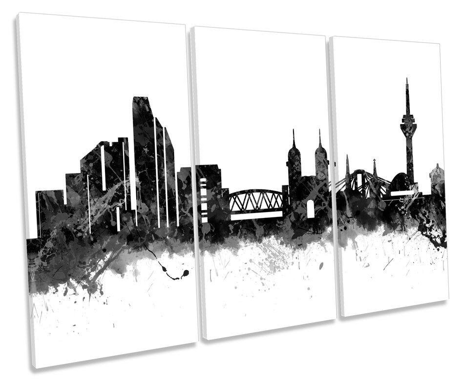 Stadt of Dusseldorf Skyline Germany B&W TREBLE CANVAS Wand Kunst Box Framed Bild