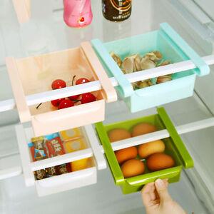 Kitchen Fridge Freezer Space Saver Organizer Storage Rack Shelf Drawer Holder US