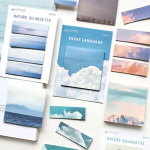Nature-scenery-Memo-Pad-Paper-Sticky-Notes-Bookmark-Label-Stationery-Supplies