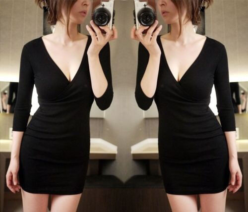 New Sexy Women Long Sleeve Slim Bodycon Formal Party Evening Cocktail Mini Dress