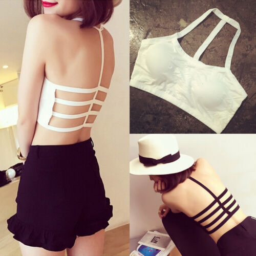 Damen Bralette Strap Caged Back Cut Out BH Strappy Padded Bra Vest Crop Top