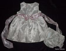 LA PRINCESS Girls 6 / 9 Months White Sleeveless Sparkly Dress & Bloomers Set