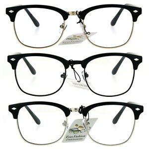 Details about Mens Classic Horned Half Rim Hipster Nerdy Retro Eye Glasses