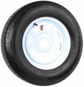 Radial-Trailer-Tire-On-Rim-ST205-75R15-LRD-15-034-5-Lug-Spoke-White-Wheel