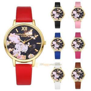 Image Is Loading Fashion Women Geneva Watch Rose Flower Leather Quartz